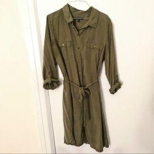 Banana Republic Army Green Military Shirt Dress